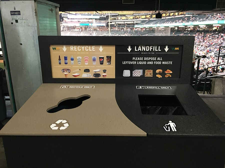 Illustrations on new bins at Chase Field educate fans on which trash items should be recycled