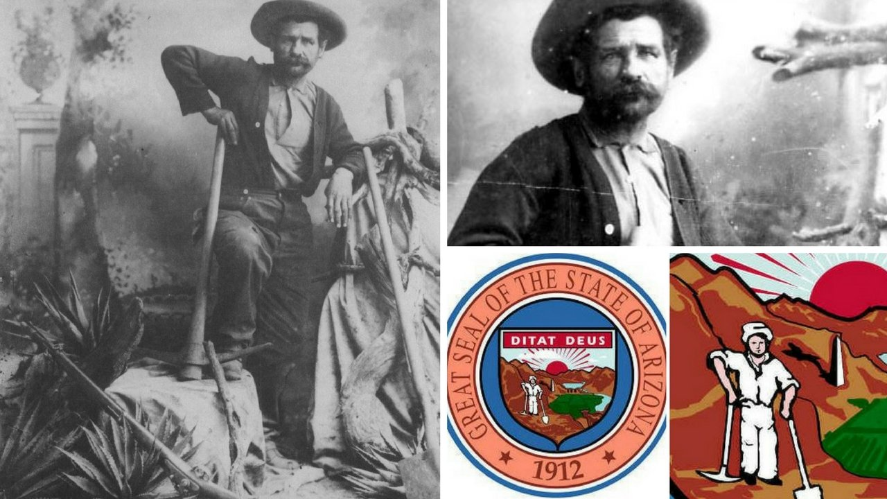 Miner George Warren's picture was used as a model for the image of a miner in the official seal of Arizona. (Source: Arizona Historical Society)