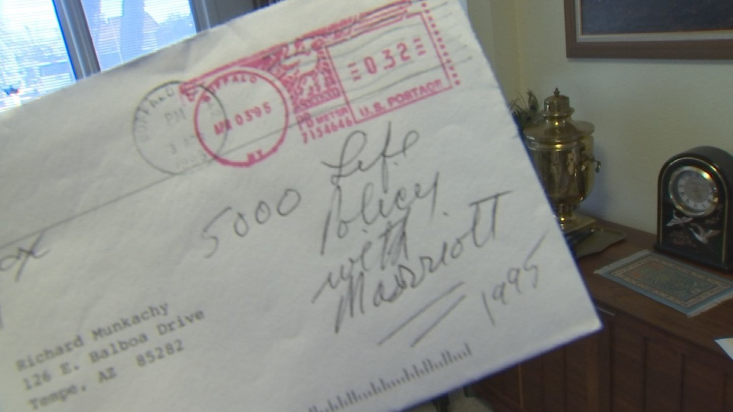 """Well my husband always told me there's an envelope in the safety box from Marriott Corporation that says I have a $5,000 life insurance policy,"" Munkachy said."