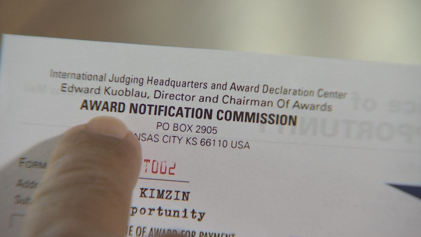 The Phoenix Better Business Bureau said it is familiar with the Award Notification Commission, calling the organization's marketing tactics questionable at best. (Source: 3TV)