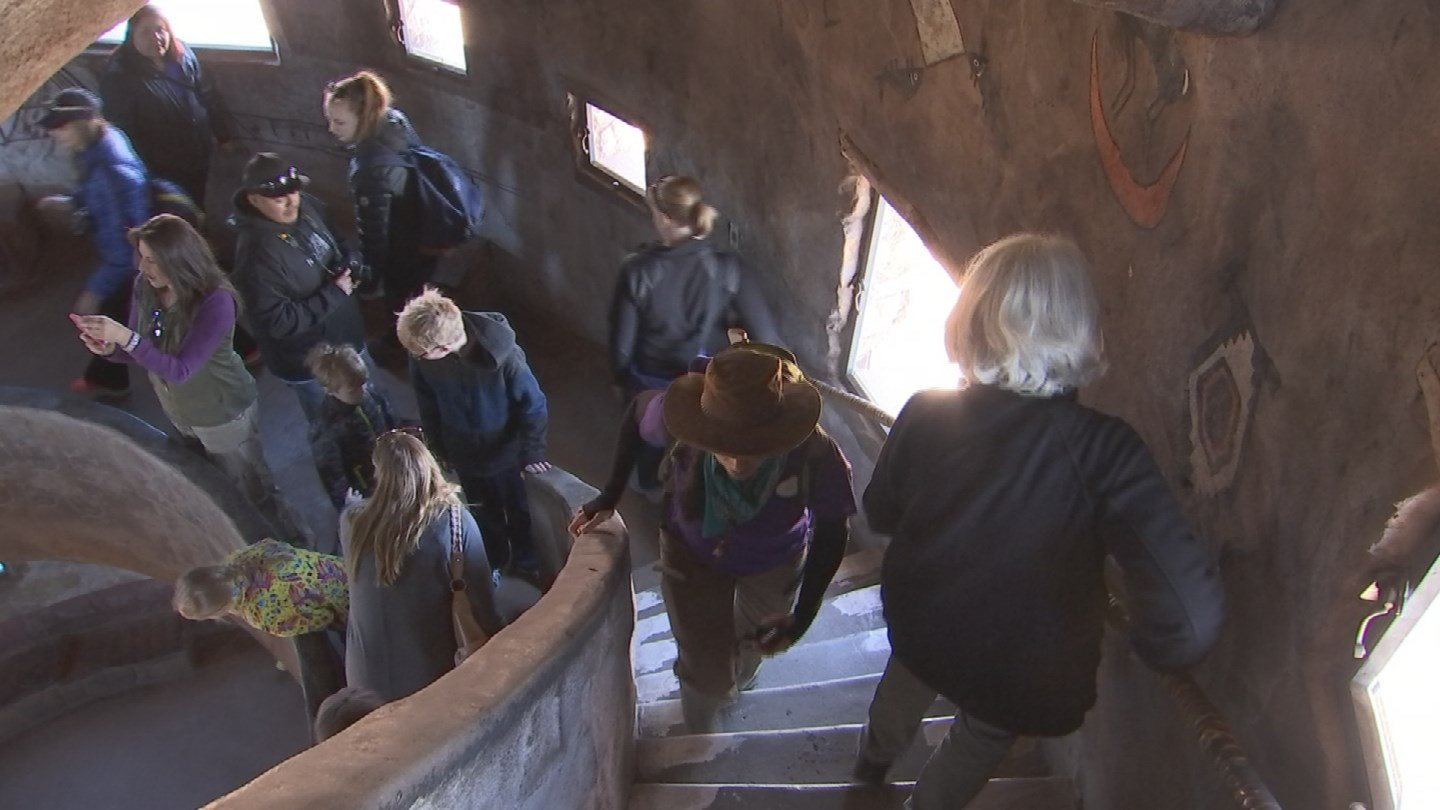 Ascend the spiral staircase to the top of the tower. (KTVK)