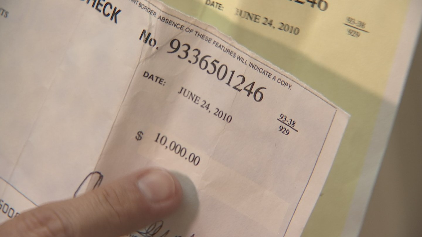 Sarah Poush said her husband gave her a cashier's check for $10,000 six years ago. (Source: 3TV)