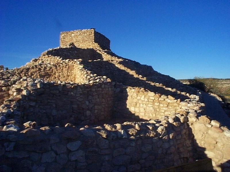 Parts of Tuzigoot's ruins were reconstructed after excavation. The tower room, or citadel, rising above the rest of the rooms in this shot is one of those. (Source: National Park Service)