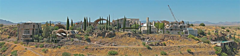 Arcosanti panorama (Source: The original uploader was Nick Scottsdale at English Wikipedia - Transferred from en.wikipedia to Commons., CC BY-SA 3.0)