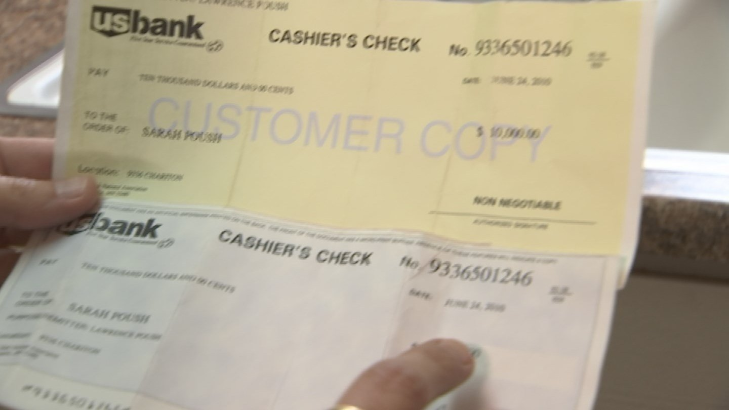 Sarah Poush had a cashier's check worth $10,000 for six years (Source: KPHO/KTVK)
