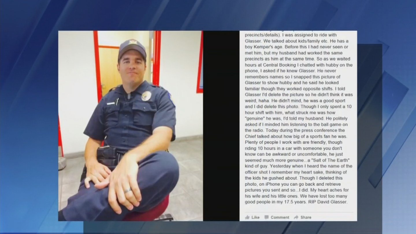 An unidentified officer posted a Facebook post about Ofc. Glasser (Source: KTVK)