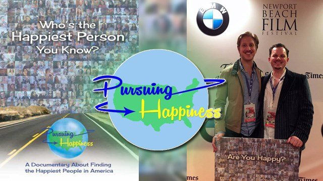 Documentarian Adam Shell traveled across the country with friend and co-producer, Nicholas Kraft, and interviewed 400 of the happiest people. (Source: 'Pursuing Happiness' Facebook page)