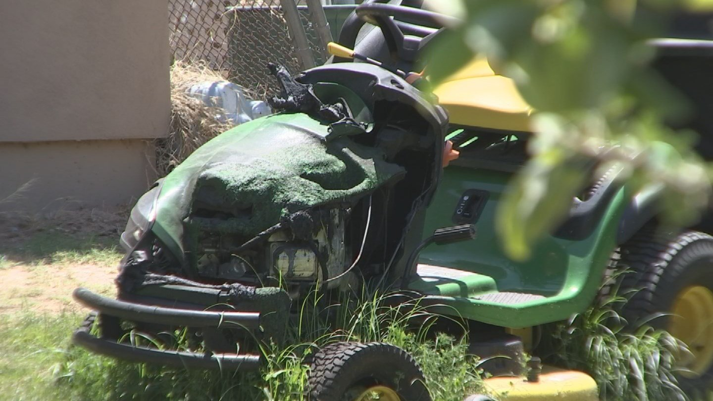 But after fewer than eight hours of use over the course of two months, Rodriquez says the riding mower started smoking and burst into flames while her husband was driving it.(Source: 3TV)