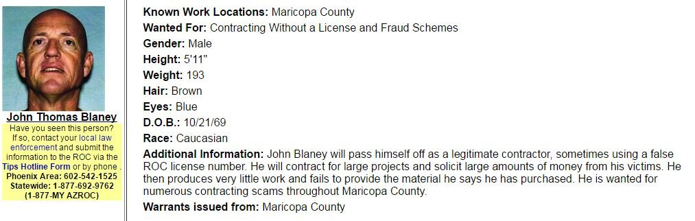 The Arizona Registrar or Contractors put Blaney on its Most Wanted list. (Source: AZROC.gov)