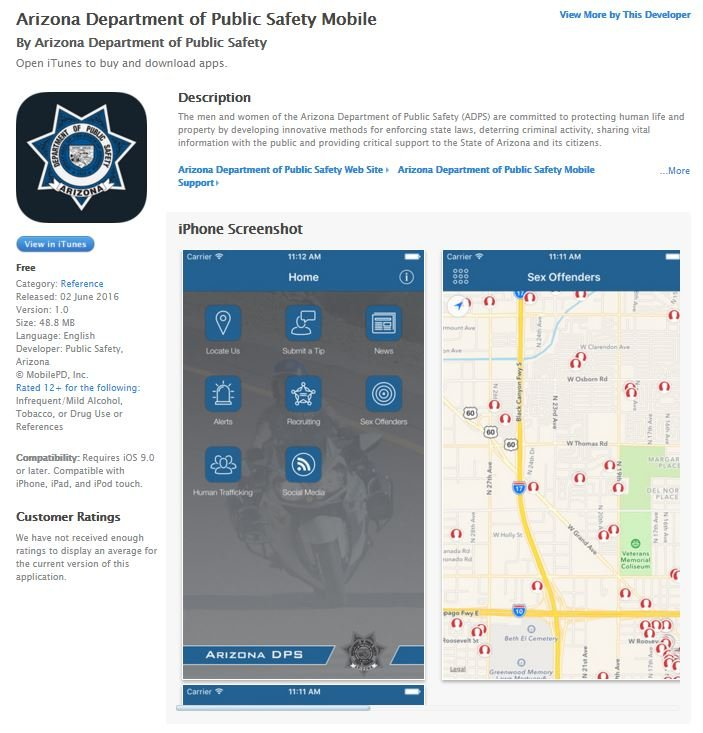 iOS version of the new Arizona Department of Public Safety Mobile app (Source: iTunes)