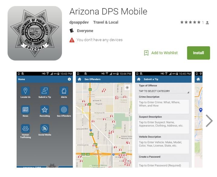 Android version of Arizona DPS Mobile app (Source: GooglePlay)