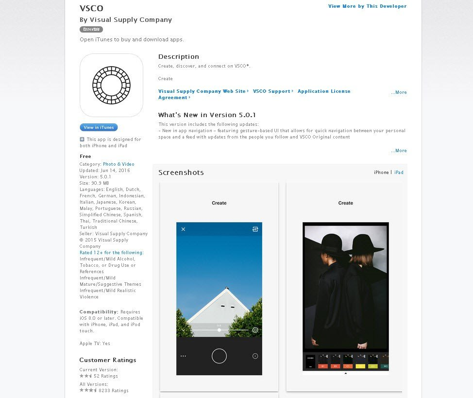 The VSCO app is available at Apple's app store. (Source: itunes.com)