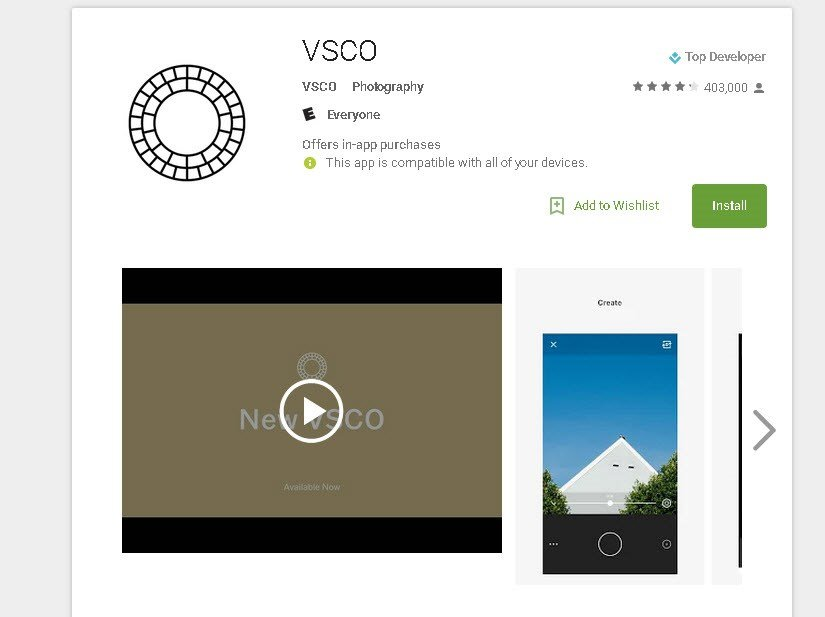 VSCO app is available for Android devices. (Source: Google.com)