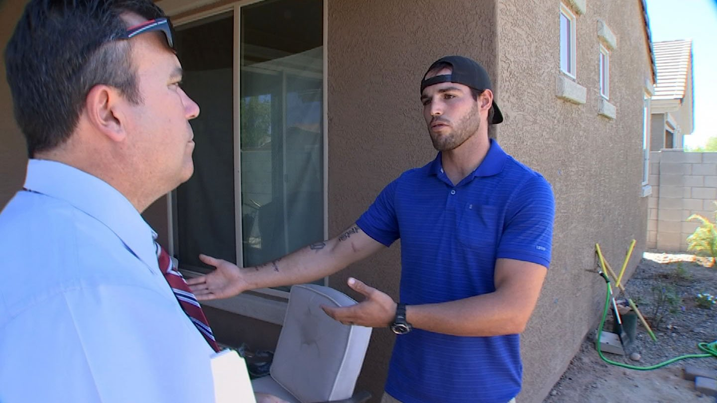 3 On Your Side's Gary Harper meets with Jake Henige, hired to do some backyard landscaping. (Source: KTVK)