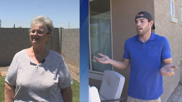 Jake Henige, right, promised to return $5,000 to Kathy Roe and her mother but changed his mind. (Source: KTVK)