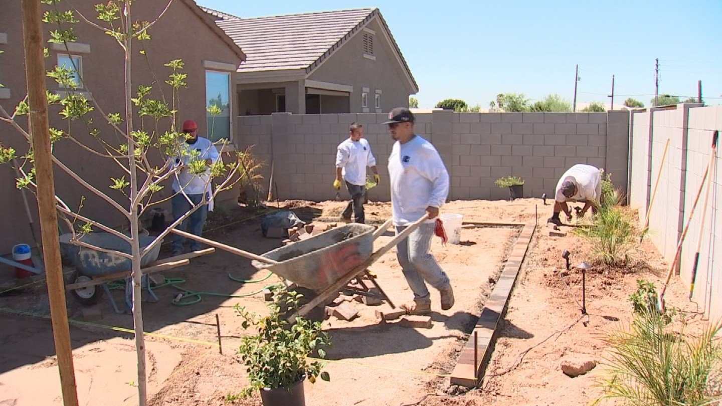 After seeing 3 On Your Side's story, David Bell, owner of Advant-Edge Decorative Curbing and Landscaping, put his crew to work. (Source: 3TV)