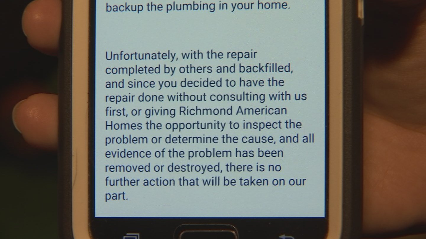 Richmond American says it is not responsible because the Wilsons had the repairs done before the company could see the issue for itself. (Source: 3TV)