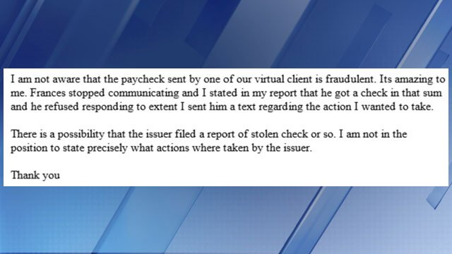 3 On Your Side emailed the scammer and he (or she) replied. (Source: 3TV)