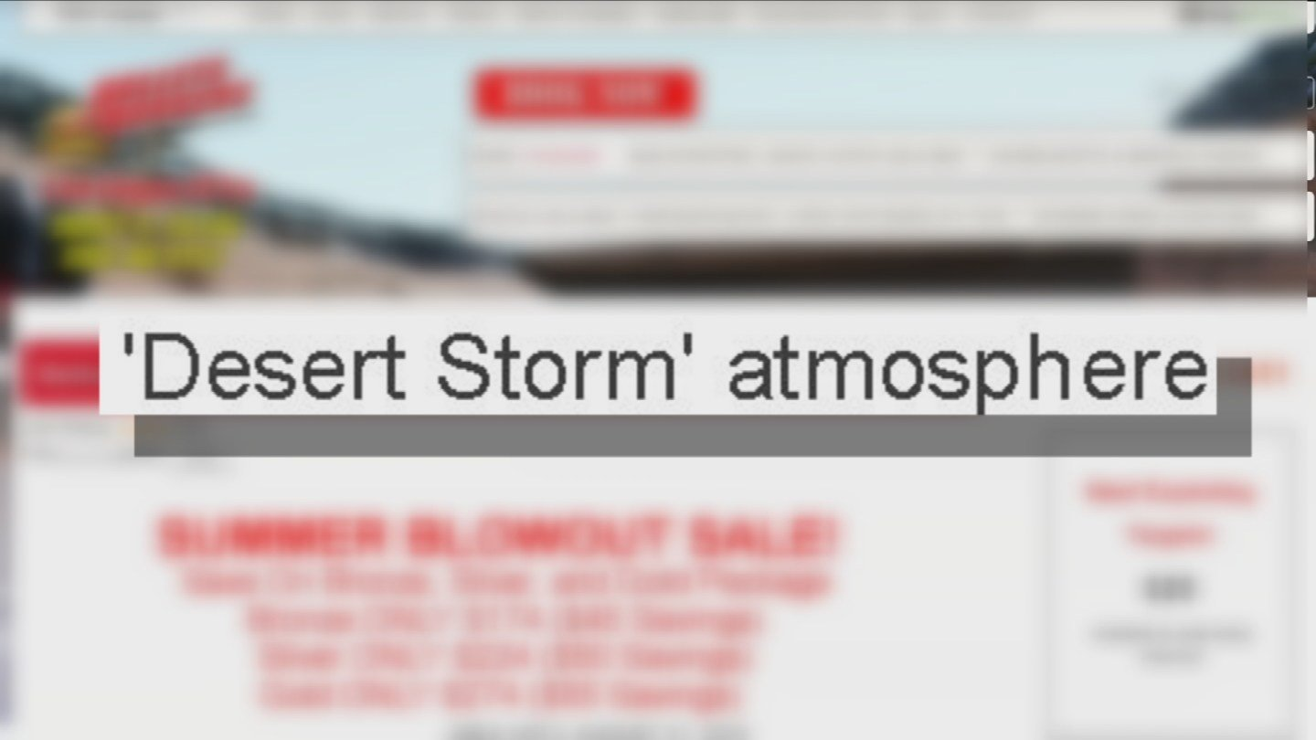 "The Bullets and Burgers website advertises a ""Desert Storm atmosphere,"" and the ability for tourists to shoot ""full auto"" on the facility's machine guns. (Source: 3TV)"