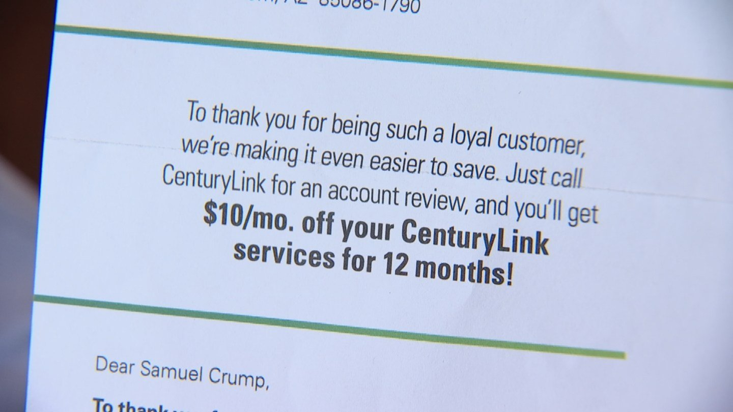"""We love our loyal customers,"" reads a letter Sam Crump recently from Century Link, his internet provider. (Source: 3TV)"