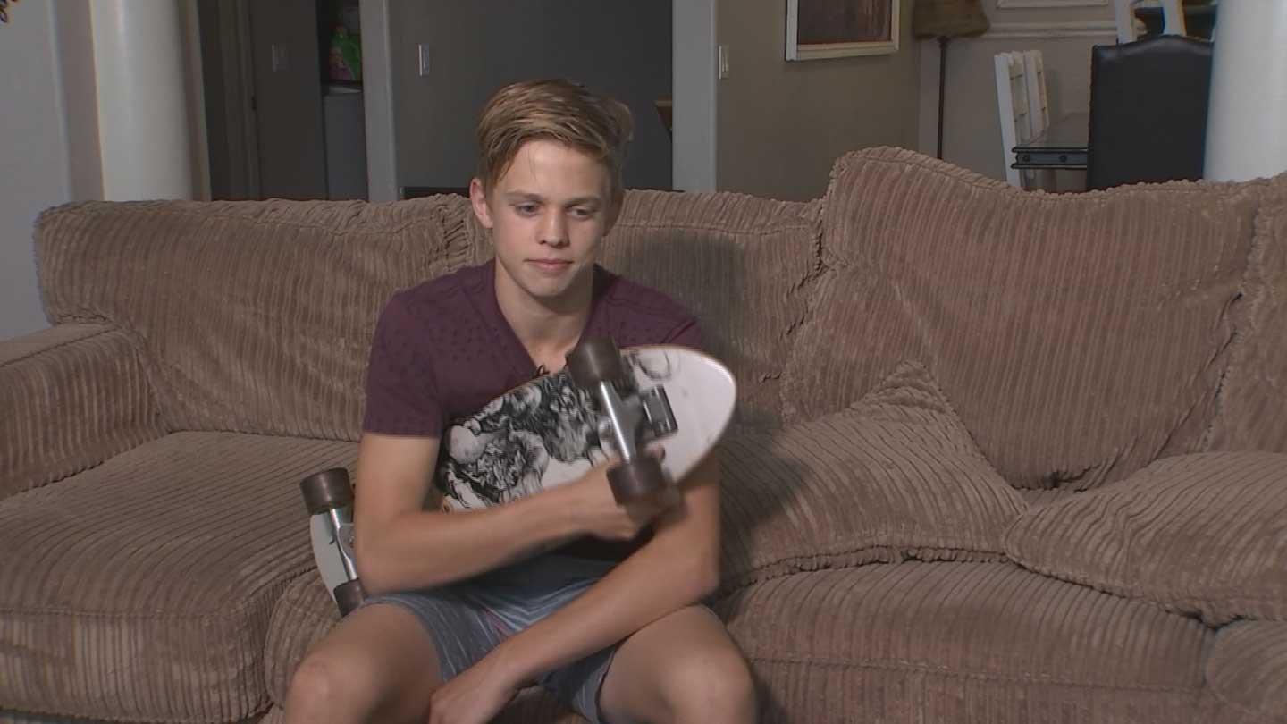 McCade Waite went back to riding his skateboard after his hoverboard broke. (Source: KTVK)