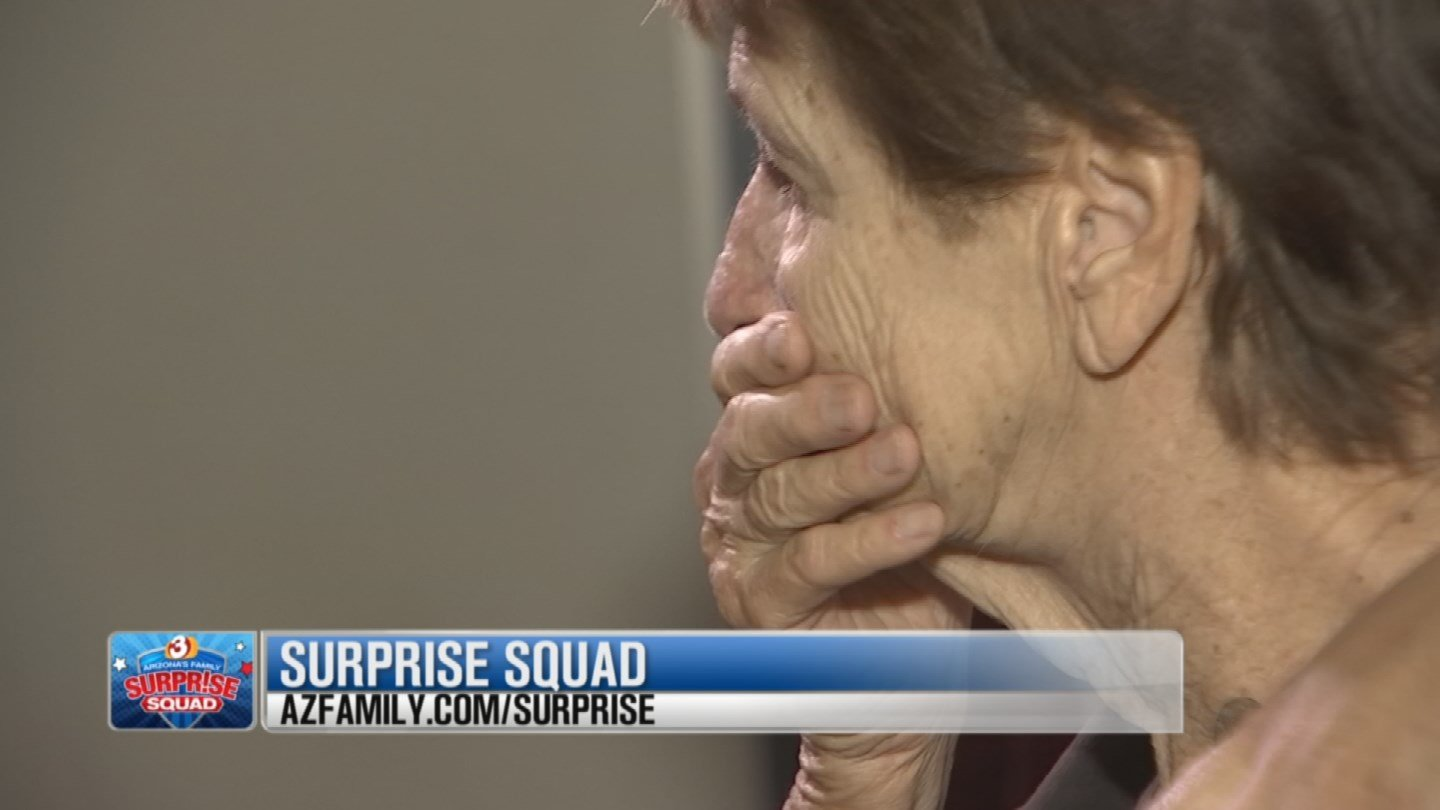 """The recipient of the first of the Arizona's Family Surprise Squad's """"20 Surprises in 20 Days"""" was moved to tears. (Source: 3TV)"""