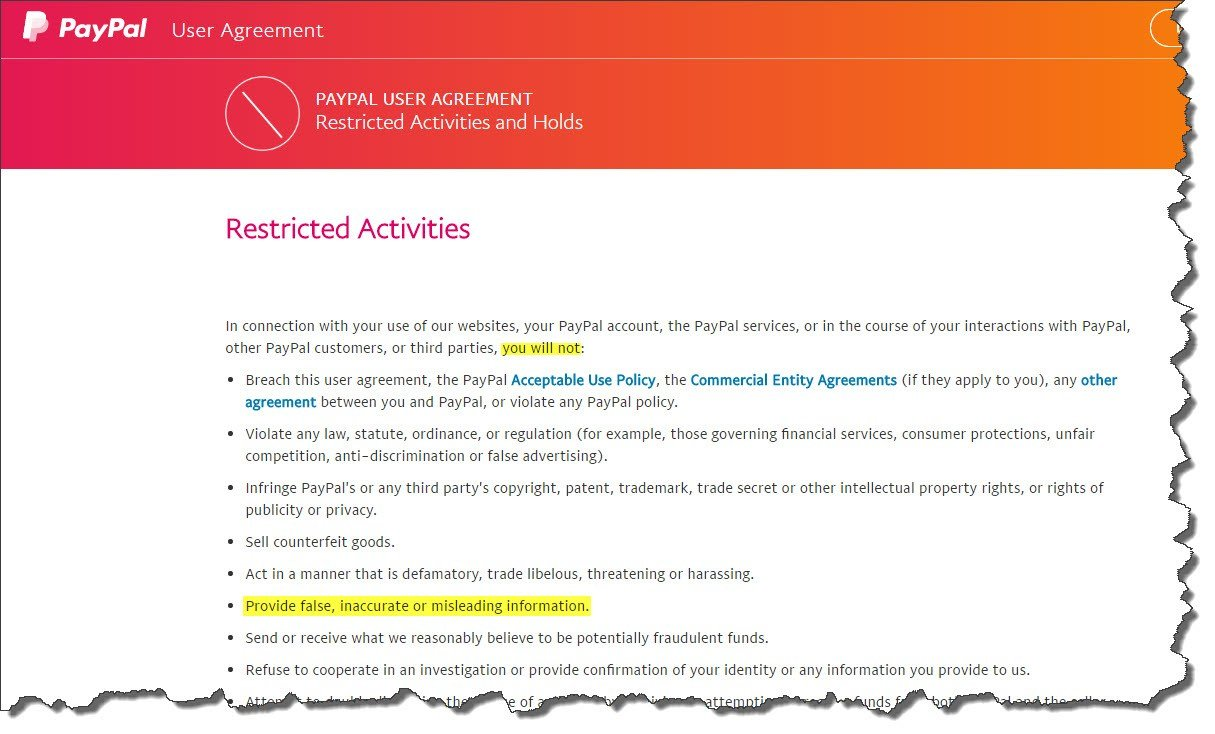 Restricted activities defined in PayPal's user agreement; Click to enlarge (Source: PayPal.com)