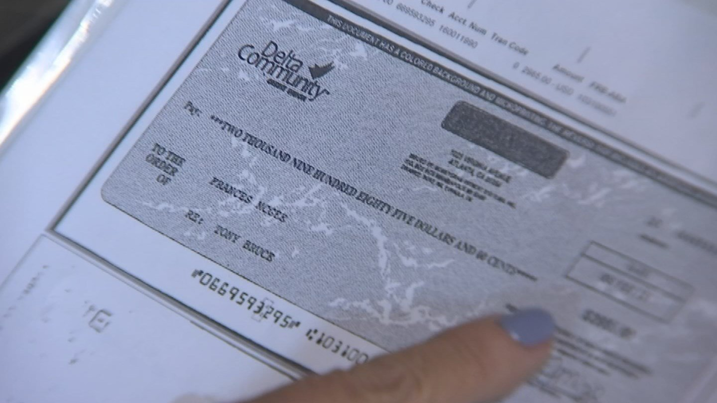 Fran McGee received a fake check from a scammer for $3,000. (Source: 3TV)