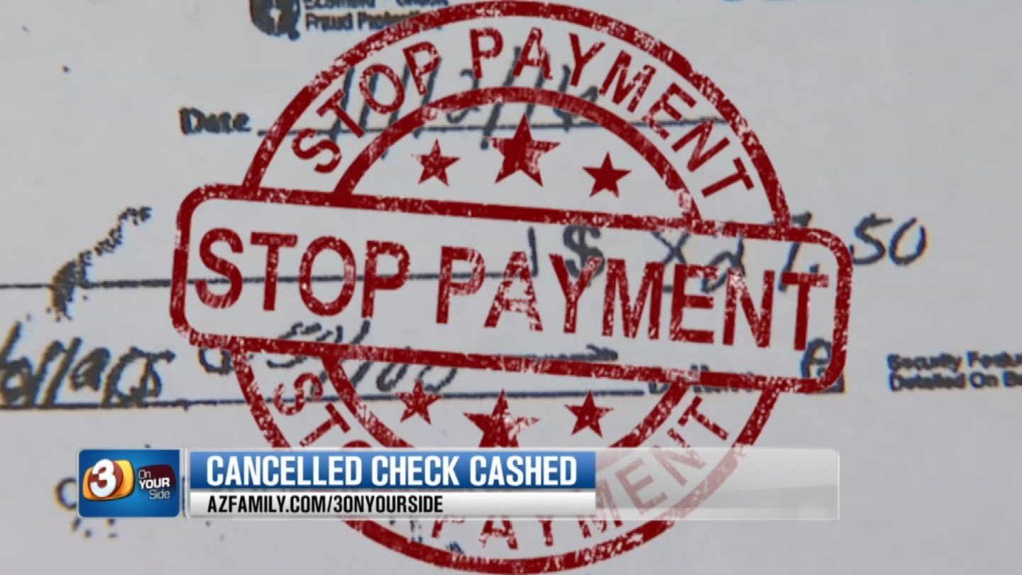 """A Gilbert couple told Chase Bank to put a """"stop payment"""" on a check but it was cashed any way. (Source: 3TV)"""