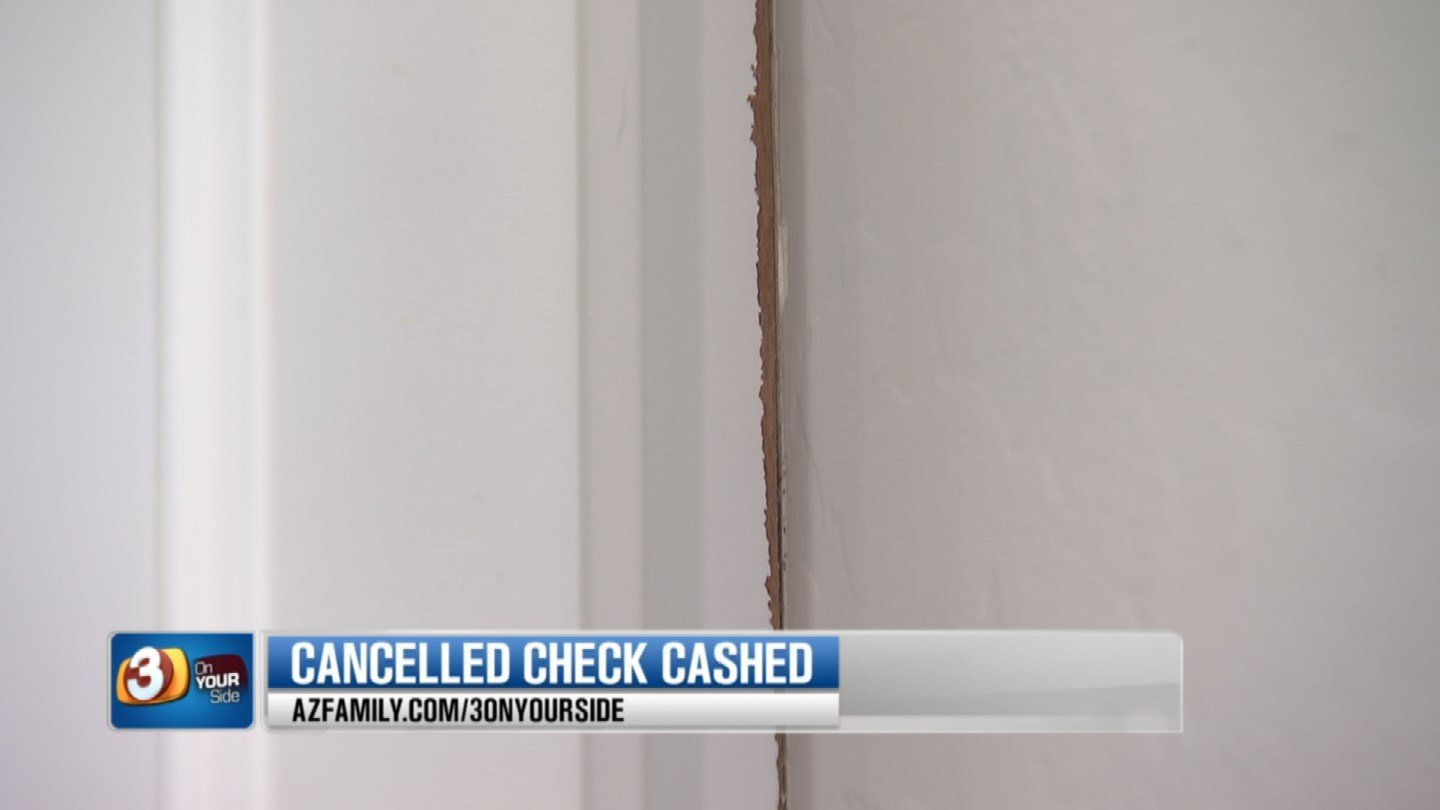 """The Naugles were upset with a painter and put a """"stop payment"""" on the check when he didn't come back to fix the job. (Source: 3TV)"""