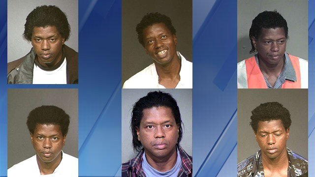 The different mugshots from 2003 to 2012 of different mugshots of Elijah Brown. (Source: Maricopa County Sheriff's Office)