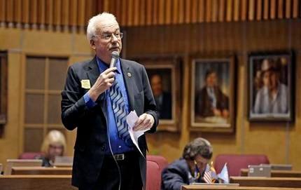 Sen. John Kavanagh, R-Fountain Hills, speaks on the Senate floor at the Arizona Capitol Wednesday, May 4, 2016, in Phoenix. (AP Photo/Ross D. Franklin)