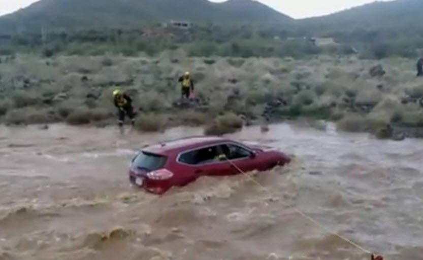 Rural Metro and Phoenix Fire performed a swift water rescue Saturday morning in Cave Creek. (Source: Rural Metro)