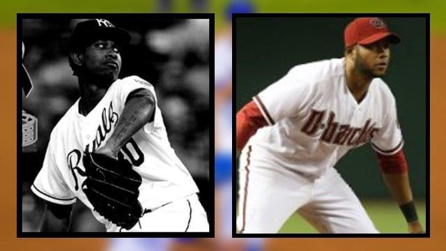 Kansas City Royals pitcher Yordano Ventura (left) and former Arizona Diamondback's player Andy Marte. (Source: Royals & Diamondbacks)