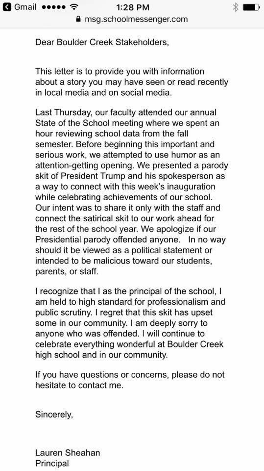 A screenshot of the letter sent home to parents. (Source: 3TV/CBS 5)