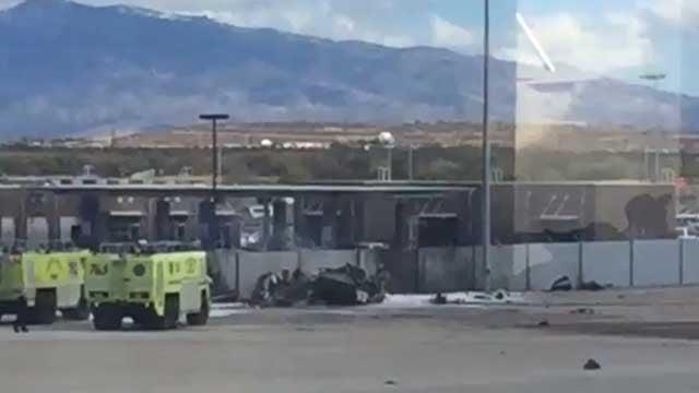 A small plane crashed near the parking garage. (Source: Susan Suarez)