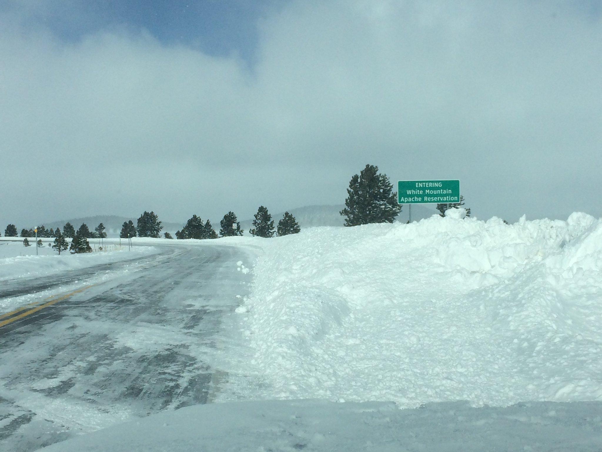 No shortage of snow on SR 260 and SR 273 near Sunrise Park Resort. Take it slow on these roads. (Source: Arizona Dept. of Transportation)