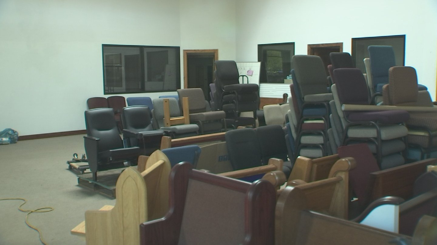 Inside Custom Church Interiors, we saw a few chairs and pews, but nothing else. (Source: 3TV)