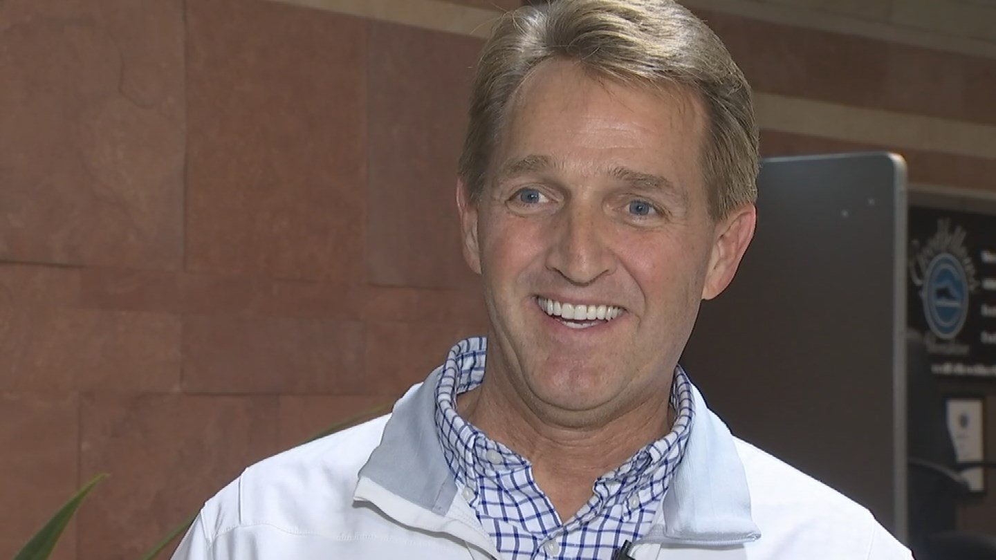Sen. Jeff Flake speaks to the media on Wednesday. (Source: 3TV/CBS 5)