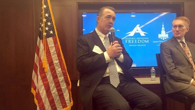 "Rep. Trent Franks, R-Glendale, is optimistic about the chances for his ""born-alive"" abortion bill, which has failed twice but now faces a GOP Congress and White House. With him is Sen. James Lankford, R-Oklahoma. (Source: Joseph Guzman/Cronkite News)"