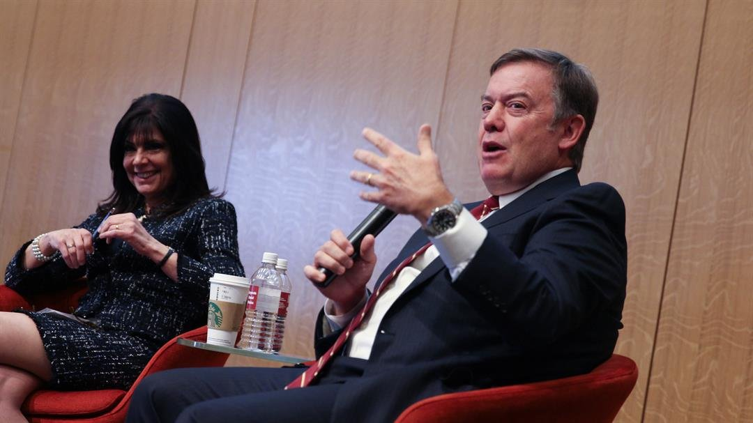 Maria Harper-Marinick, chancellor of Maricopa Community Colleges, and Michael M. Crow, president of Arizona State University, spoke about the intersection of higher education and the economy in Arizona. (Source: Erica Apodaca/ Cronkite News)