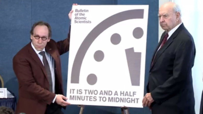 The Bulletin of the Atomic Scientists announced during a news conference Thursday that its advisory group is moving the Doomsday Clock 30 seconds closer to midnight. (Source: Bulletin of the Atomic Scientists)