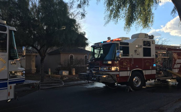 Firefighters on the scene of house fire in Queen Creek. (Source: 3TV/CBS 5)