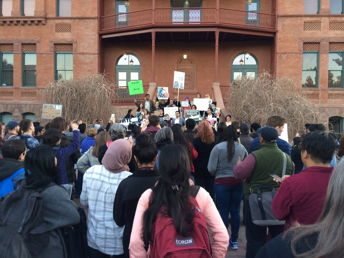 Hundreds of people gathered at ASU's Old Main to protest Trump's policies. (Source: Fred Baker)