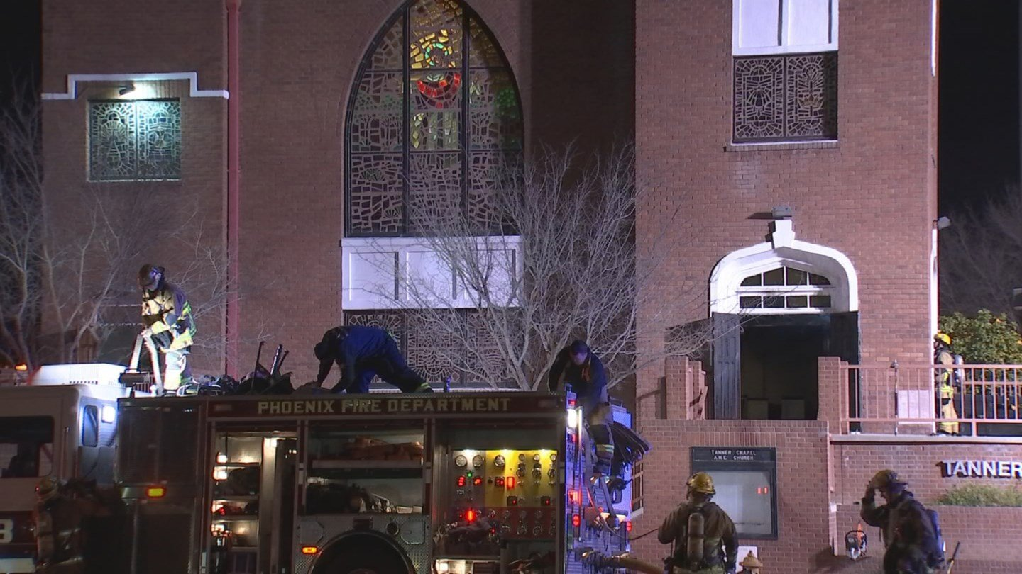 Fire broke out at the historic Tanner Chapel African Methodist Episcopal Churchin Phoenix Friday night. (Source: 3TV/CBS 5)