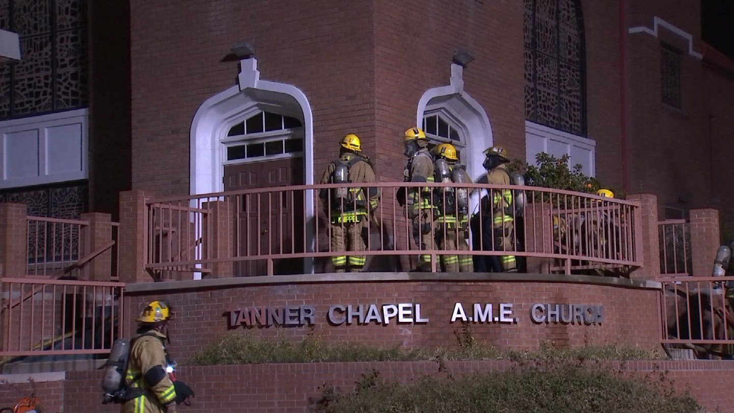 Fire broke out at the historic Tanner Chapel African Methodist Episcopal Church in Phoenix Friday night. (Source: 3TV/CBS 5)
