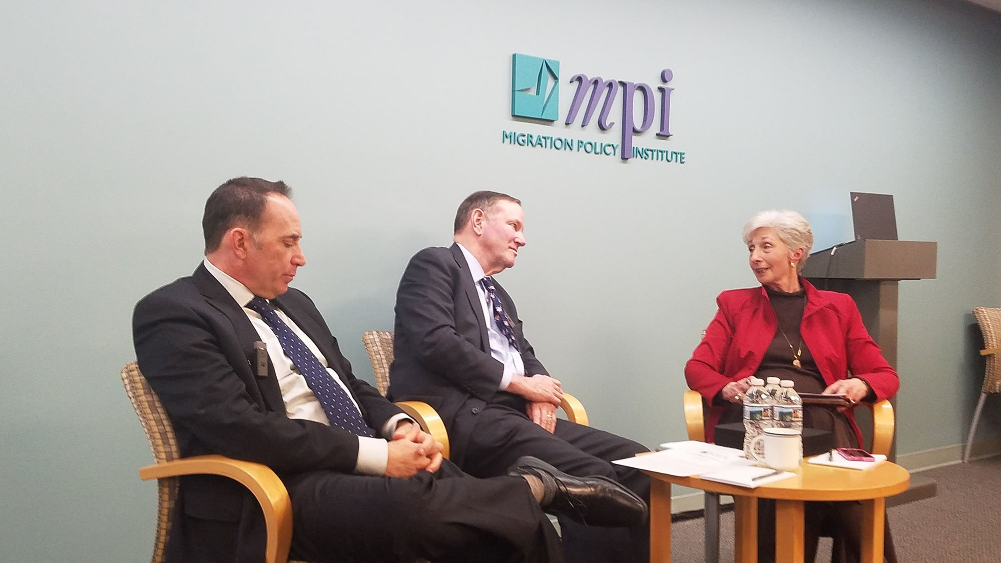 Former Arizona Gov. Janet Napolitano spoke by videoconference at the session on the future of DACA with, from left, Ike Brannon, Don Graham and the Migration Policy Institute's Doris Meissner. (Source: Dustin Quiroz/Cronkite News)