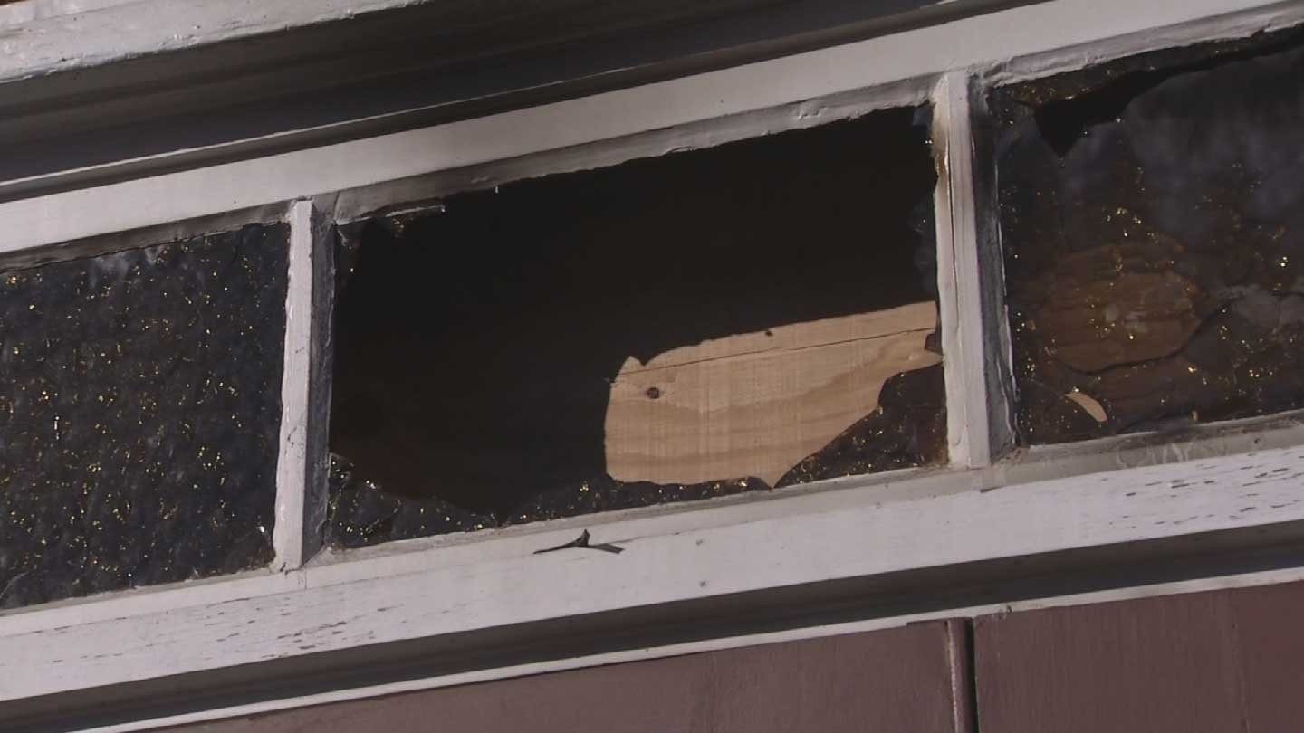 The church sustained severe damage to the front entry.(Source: 3TV/CBS 5)