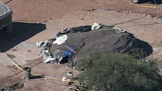 Aftermath seen in the hours after the 2009 sweat lodge ceremony. (Source: 3TV/CBS 5)