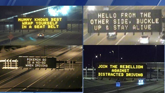 ADOT's electronic boards flashed clever messages in 2016. (Source: ADOT)
